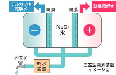 三室型電解装置イメージ図